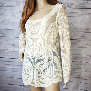Zenana outfitters sheer lace long sleeve shirt